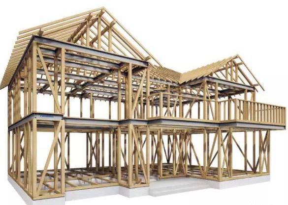 日本使用钢木复合梁的木结构独立小住宅的承重结构体系示意图片