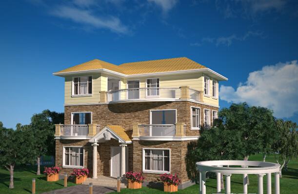回乡下建造别墅?新农村三层别墅设计及外观效果图