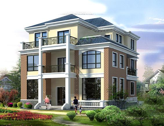 农村3层轻钢别墅设计效果图