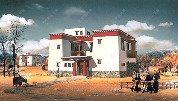 藏族民居,藏族房屋,藏族风格民居房屋,藏族房屋设计