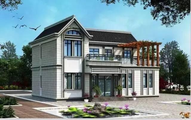9套农村自建别墅平面设计图和效果图(钢结构别墅砖混