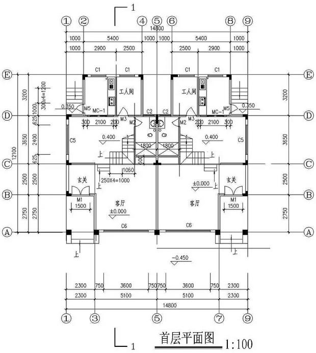 农村别墅一层平面图