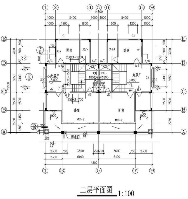 15x12米双拼三层农村别墅设计图纸 效果图 户型图