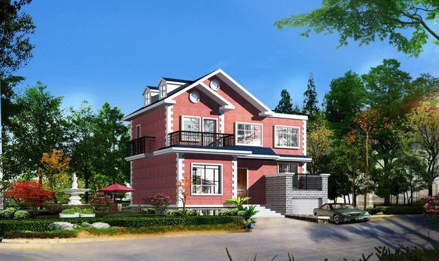 12x12米二层农村别墅设计施工图,清新风格带车库