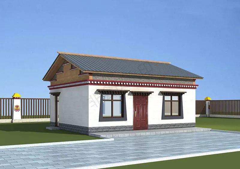 60平米一层藏式风格轻钢别墅民居