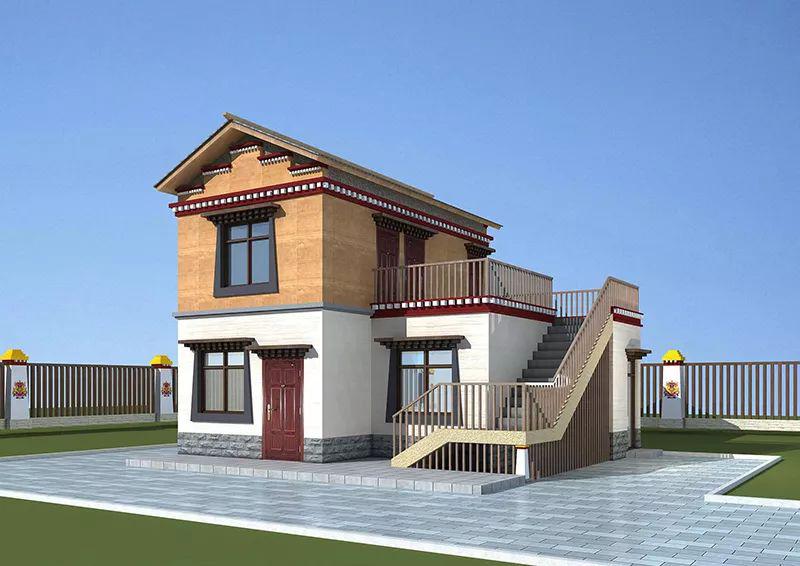 90平米两层藏式风格轻钢别墅民居